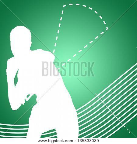 Sportswoman practising the shot put against green vignette