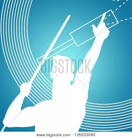 Low angle view of sportsman practising javelin throw against blue vignette background