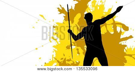 Sportsman practising the javelin throw against different black silhouette