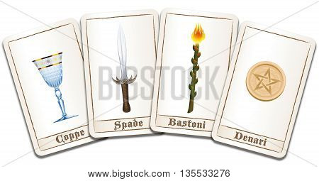 Tarot cards with ITALIAN TERMS of the symbols: cups, swords, wands, pentacles. Isolated vector illustration on white background.