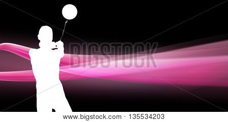 Sportswoman throwing a hammer against different black silhouette