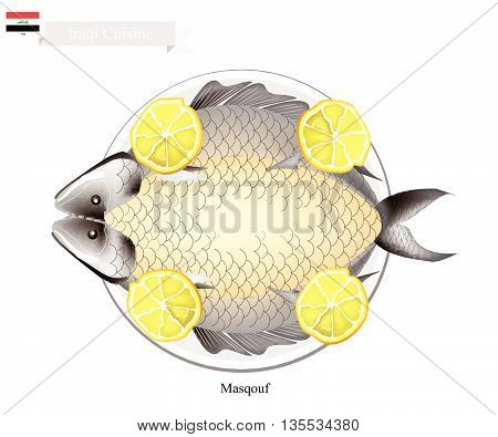 Iraqi Cuisine Illustration of Masqouf or Traditional Grilled Carp Fish on Campfire. A National Dish of Iraq.