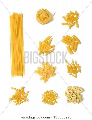 selection of pasta, isolated on white background: spaghetti, gemelli, tagliatelle, fussili, farfalle, gobetti, rigatoni, maccheroni and tortelini
