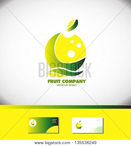 Vector company logo icon element template fruit lemon apple green yellow healthy food