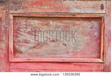 Vintage red wood sideboard door old texture