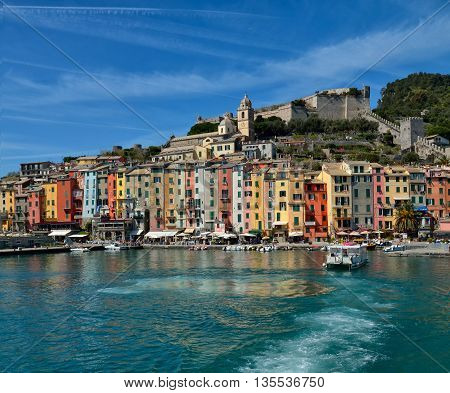 Portovenere bay and colored houses, near Cinque Terre, Italy