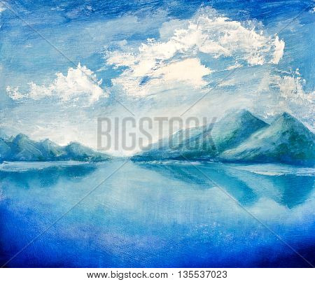 Bright mountains reflected in water. Clouds over mountains. Hand made oil painting on canvas.