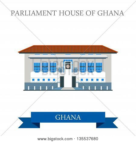 Parliament House of Ghana in Accra flat vector illustration