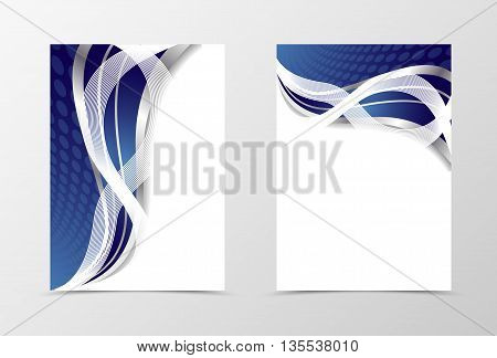 Flyer template design. Abstract blue flyer template vector illustration in blue color with silver line. Blue flyer design with silver waves