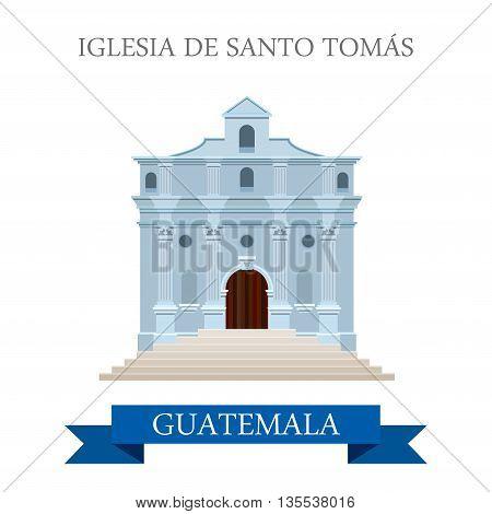 Iglesia de Santo Tomás in Guatemala flat web vector illustration