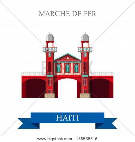 Marche de Fer in Haiti vector illustration. Flat cartoon style