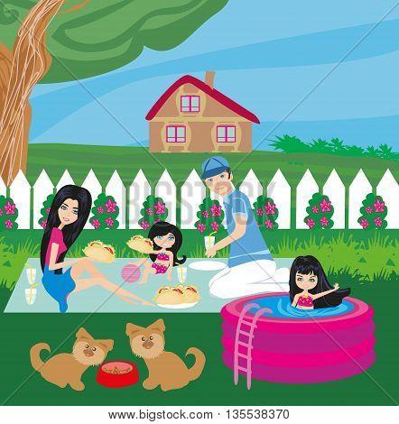 Family having barbecue in the garden , vector illustration