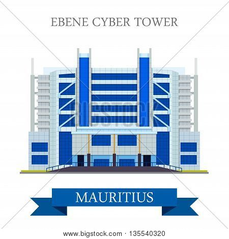 Ebene Cyber Tower in Mauritius Flat historic vector illustration