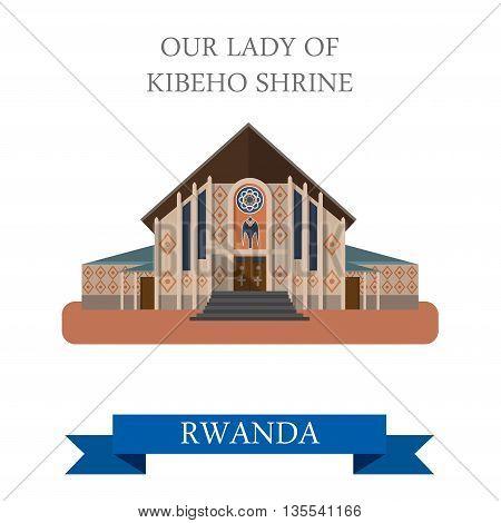 Our Lady of Kibeho Shrine in Rwanda. Flat vector illustration