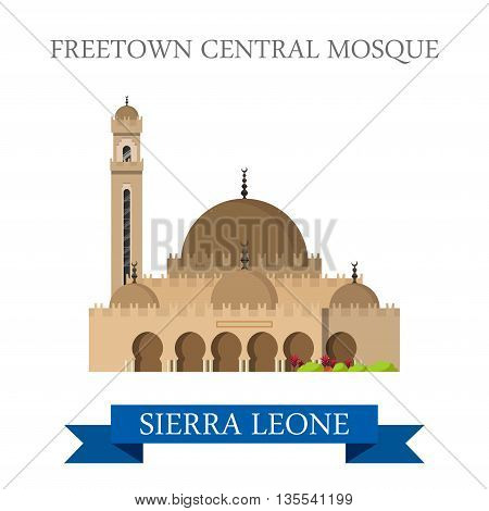 Freetown Central Mosque in Sierra Leone Flat vector illustration