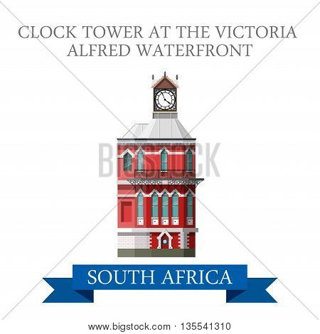 Clock Tower Victoria Alfred Waterfront South Africa Flat vector