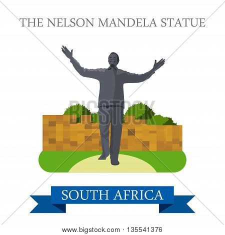 The Nelson Mandela Statue in Johannesburg in South Africa vector