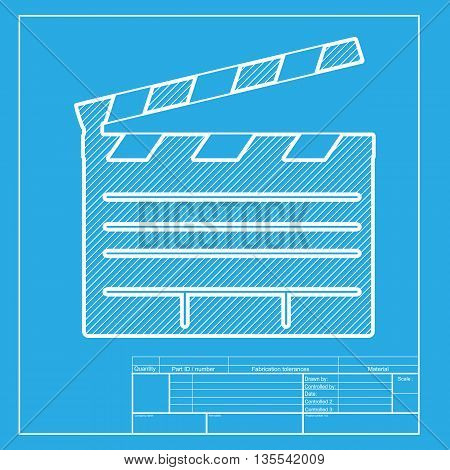 Film clap board cinema sign. White section of icon on blueprint template.