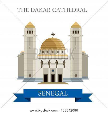 The Dakar Cathedral in Senegal. Flat cartoon vector illustration