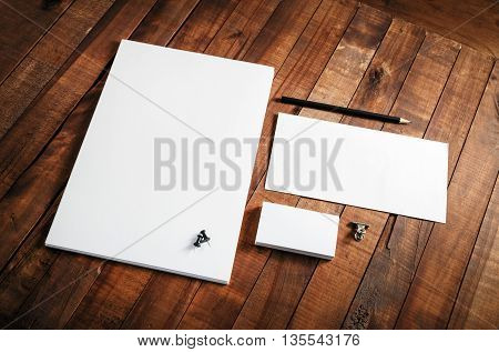 Blank stationery template. Blank stationery set on wooden table background. ID template. Mock-up for branding identity for designers.