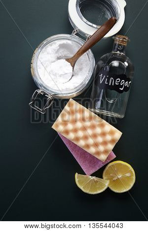 baking soda with cleaning sponge