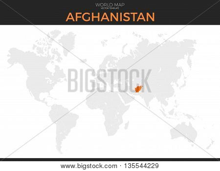 Islamic Republic of Afghanistan location modern detailed vector map. All world countries without names. Vector template of beautiful flat grayscale map design with selected country and border location