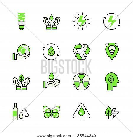 Green planet nature energy recycling lineart flat vector icon se