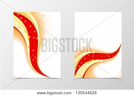 Stars flyer template design. Abstract flyer template in colorful perfomance. Wave style flyer design. Vector illustration