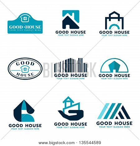 House logo vector set design (sea Blue and dark blue tone)