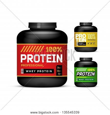 Sport Nutrition Containers. Weight gainers set. Black cans collection with Protein. Jar label on white background. Vector product packaging