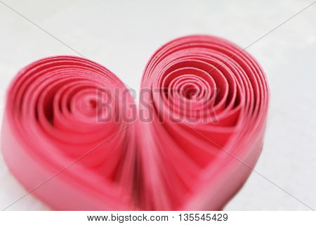Quilling handmade heart. Made of paper heart in quilling style poster
