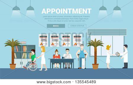 Medicine health care appointment flat design vector illustration