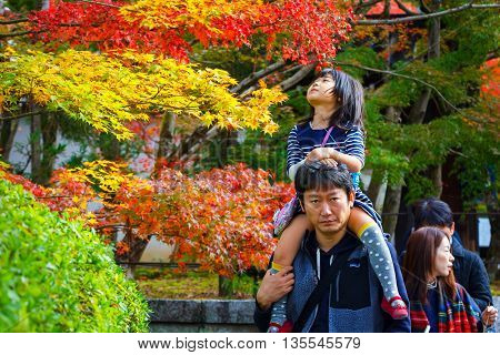 Kyoto Japan - November 22 2015: Unidentified Japanese father and dauther take a walk in a garden in autumn at Eikando Zenrinji temple