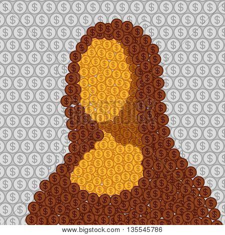 Mona Lisa abstract vector illustration Vinci flat portrait coin
