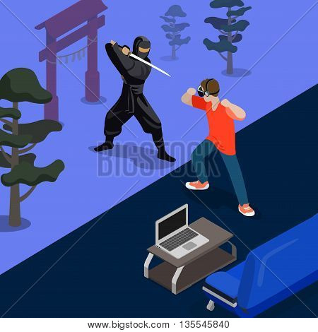 Isometric 3d flat style ninja fight screen vector illustration
