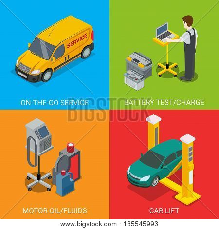 Technical inspection car service mockup vector set. Isometric checking vehicle web site illustration. Battery test charge motor oil fluid car lift computer automatic diagnostic on colour background. poster
