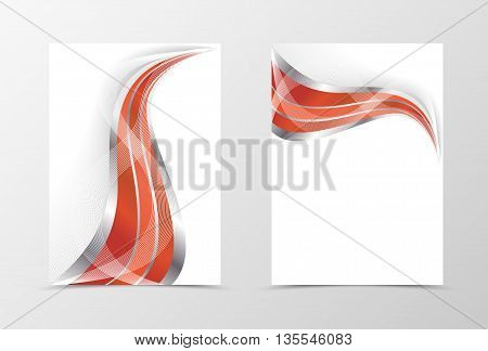 Smooth flyer template design. Abstract flyer template in red color with silver lines. Swoosh flyer design. Vector illustration