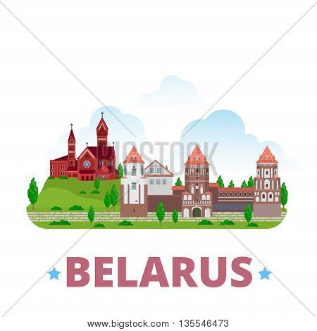 Belarus country design template Flat cartoon style web vector