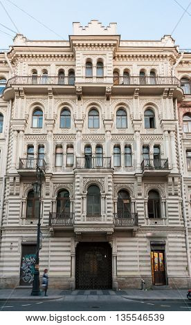 The house in the style of eclecticism on Pestel Street in St. Petersburg