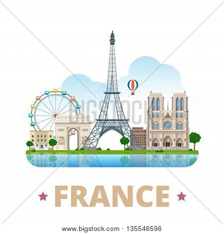 France country design template Flat cartoon style web vector