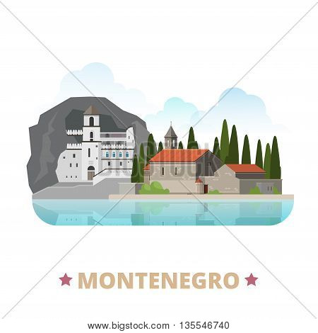 Montenegro country design template Flat cartoon style web vector