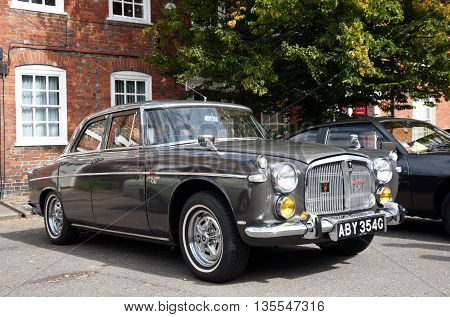 AMERSHAM, UK - SEPTEMBER 13: An immaculate vintage Rover P5 motorcar is parked on the side of the public highway during the annual Amersham Heritage day festival on September 13, 2015 in Amersham.