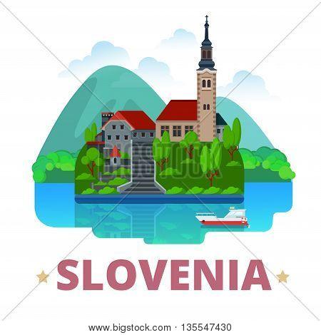 Slovenia country design template Flat cartoon style web vector