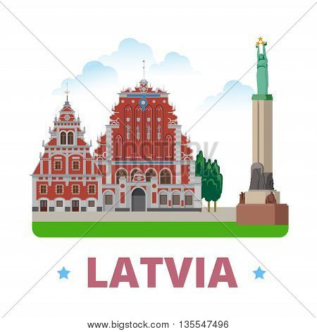 Latvia country design template Flat cartoon style web vector