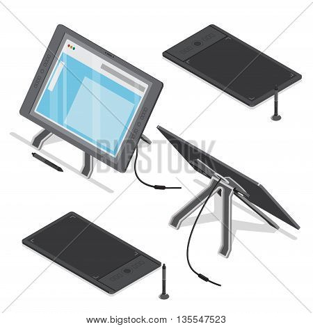 Isometric tablet screen designer digital art tool vector Flat 3d