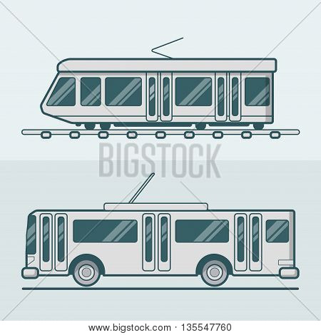 Tram tramway trolley transport Linear stroke outline flat vector