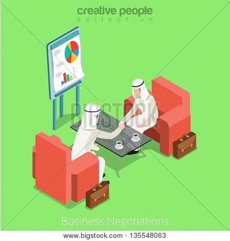 Arabic islamic business contract negotiate vector illustration