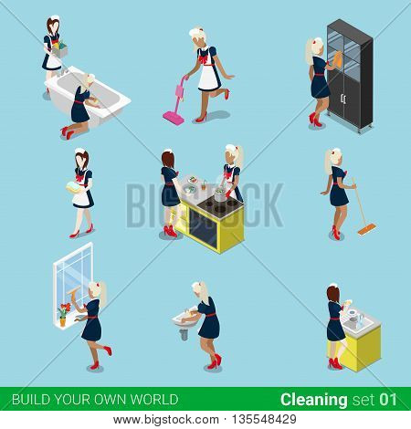 Sexy female housemaid maid cleaner flat 3d isometric vector