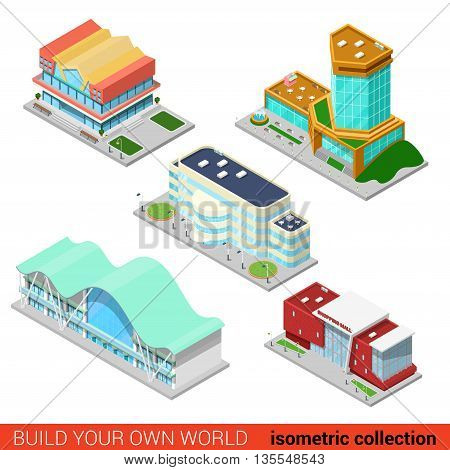 Shopping mall center skyscraper flat 3d isometric building set