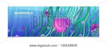 Sea world underwater life nature travel vacation agency vector